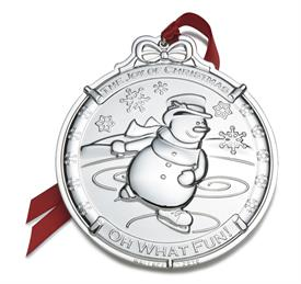 "_5th Ed.Snowman Silver Plated Ornament Anniversary Edition Last in Series. MSRP $60 3.5""Wx3.75""H- DELAYED SHIIPING-DELIVERY BY 12/23"