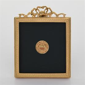 """-,1681G GOLD PATERAE RECTANGLE AND BOW FRAME, 3X3.2""""."""