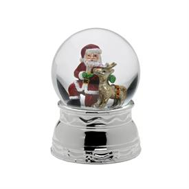 "_SANTA & FRIEND MUSICAL SNOW GLOBE. PLAYS 'JOLLY OLD SAINT NICHOLAS'. 5.75"" TALL. MSRP $37.50"