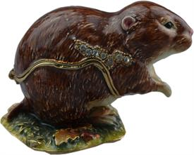 ",_BROWN VOLE, SHORT TAILED MOUSE, WITH MATCHING NECKLACE. 1.75"" TALL."