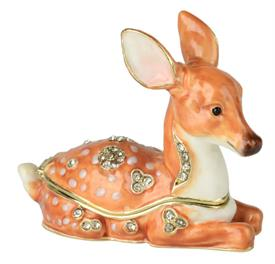 """-YOUNG DEER LAYING DOWN WITH MATCHING NECKLACE. 2"""" TALL."""