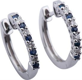 _18K WHITE GOLD SAPPHIRE AND DIAMOND HOOP EARRINGS. REGULAR PRICE $599.00