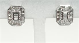 _14K WHITE GOLD 2.05 CARAT BAGUETTE AND ROUND DIAMOND EARRINGS
