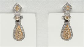 _14K TWO-TONED YELLOW AND WHITE GOLD DIAMOND DANGLE EARRINGS
