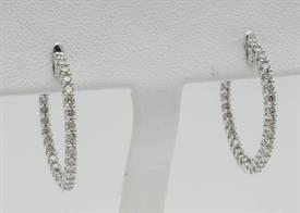_14K WHITE GOLD 1.10 CARAT DIAMOND INSIDE OUT HOOP EARRINGS