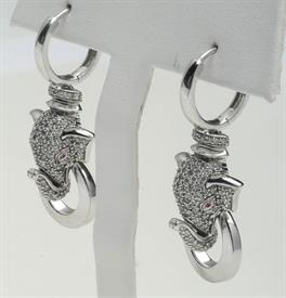 _14K WHITE GOLD DIAMOND DANGLE ELEPHANTS WITH RED EYES