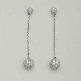 _18K WHITE GOLD DIAMONG DANGLE BALL EARRINGS