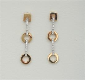 _14K TWO-TONE WHITE AND YELLOW GOLD DIAMOND DANGLE EARRINGS