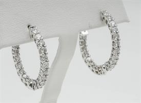 _14K WHITE GOLD 2 CARAT DIAMOND INSIDE OUT HOOP EARRINGS