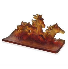 "-,AMBER CAVALCADE PENCIL HOLDER. 4.9"" TALL, 9.8"" LONG, 5.1"" WIDE. 4.8 LBS."