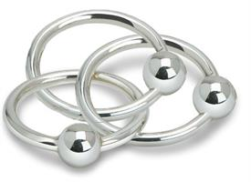 -$TRIPLE BALL/RING RATTLE. STERLING SILVER