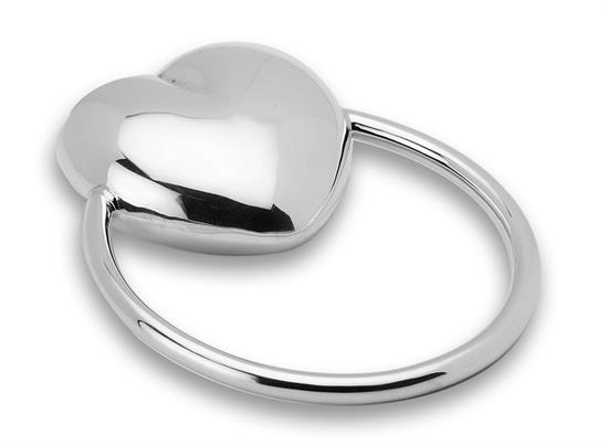 Cunill ,-$SINGLE HEART RING RATTLE. STERLING SILVER.