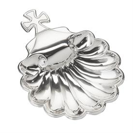 "-$C51820 VALENCIA SCALLOPED BAPTSIMAL CHRISTENING SHELL WITH CROSS HANDLE. FINE SILVER PLATE. 4"" X 5.5"""