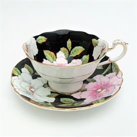 ,AYNSLEY TEA CUP & SAUCER IN COBALT BLUE & GOLD, STYLE C2457. RARE. CA. 1939