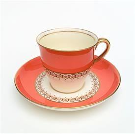 ,AYNSLEY ORANGE & PALE BUTTER YELLOW DEMITASSE CUP & SAUCER WITH BROWN SCROLL DETAILS. CA. 1940-1960