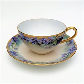 ,AYNSLEY TEA CUP & SAUCER IN GREEN, GOLD & WHITE, STYLE C1057. CA. 1940-1960. LIGHT AGE RELATED WEAR (SEE PHOTOS)
