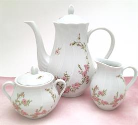 ,3PC AMANDINE BY BERNARDAUD, LIMOGES. COFFEE POT, CREAMER, SUGAR BOWL WITH LID. CA. 1986-1998.