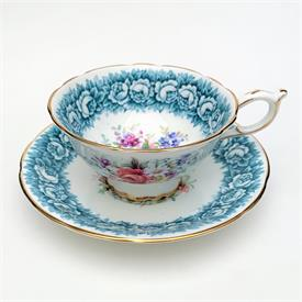 ,E B FOLEY TEA CUP & SAUCER WITH BERRY RED & GOLD BANDS SURROUNDING A SPRAY OF FLOWERS. STYLE #2884. CA. 1948-1963