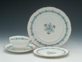 4P GENEVA BY COALPORT, SNACK SET. INCLUDES 1EA SALAD, BREAD & BUTTER, TEA CUP, & SAUCER.