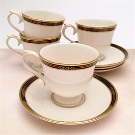 ,SET OF 4 LANGDON GATE, AMBASSADOR COLLECTION TEA CUPS AND SAUCERS BY LENOX. BLACK & GOLD ON CREAM. CA 1989-2002.