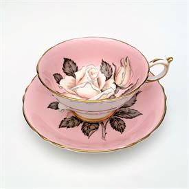 ,BRIGHT ORANGE AYNSLEY BONE CHINA TEA CUP AND SAUCER. PATTERN C126. CA 1934-1939.