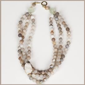 _GREY DRUZY BALLS WITH JADE & WHITE DRUZY STONE NECKLACE