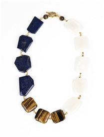 _LAPIS LAZULI, TIGER'S EYE, & QUARTZ NECKLACE