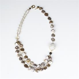 ,_CHAMPAGNE COIN PEARLS WITH CLEAR CRYSTAL & WHITE DRUZY QUARTZ