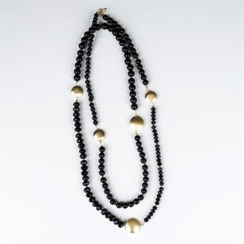 _EXTRA LONG ONYX & JET CRYSTALS WITH GOLD DISCS NECKLACE