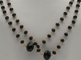 _EXTRA LONG FACETED JET BEAD NECKLACE