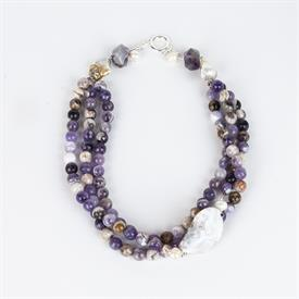 _FLOWER AMETHYST, PEARL, & AGATE NECKLACE