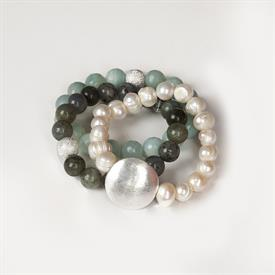 _ASSORTED PEARL BRACELETS WITH SILVER DISCS
