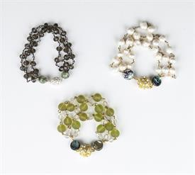 _GOLD & RHINESTONE BALL CLASP BRACELETS WITH ASSORTED PEARL & GLASS BEADS