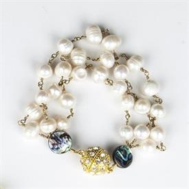 ,_PEARL TRIPLE STRAND BRACELET WITH ABELONE SHELLS