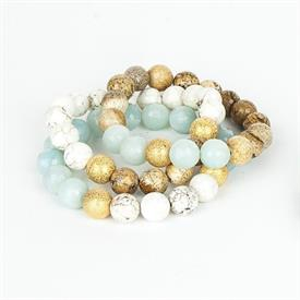 _,GREEN & NATURAL TONES SET OF THREE BRACELETS. INCLUDES WHITE CORAL, AMAZONITE, AND WOOD JASPER BEADS