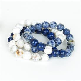 _,BLUE & WHITE TONES SET OF 3 BRACELETS. INCLUDES SURF AGATE, LAPIS LAZULI, & INDIGO AGATE BEADS