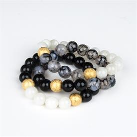 _,BLACK & WHITE TONES SET OF 3 BRACELETS. INCLUDES ONYX, RITICULATED AGATE, & MOONSTONE BEADS