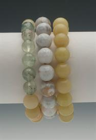,_GREEN & WHITE TONES SET OF 3 BRACELETS. INCLUDES LEMON JADE, SURF AGATE, & GREEN TOURMALINE BEADS