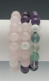 ,_PURPLE & GREEN TONES SET OF 3 BRACELETS. INCLUDES AMETHYST, FLOURITE, & ROSE QUARTZ BEADS