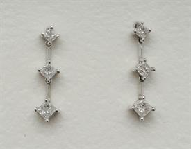 _14K WHITE GOLD .50 CARAT PRINCESS CUT DIAMOND DROP EARRINGS