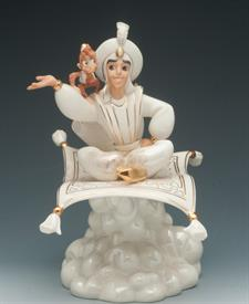 ,ALADDINS MAGIC CARPET RIDE. MADE BY LENOX WITH HANDPAITED FINE IVORY PORCELAIN, PART OF DISNEY SHOWCASE COLLECTION. 9.5 TALL. ALADDIN & ABU