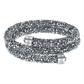 -,5237762 CRYSTALDUST DOUBLE BANGLE IN GRAY, MEDIUM