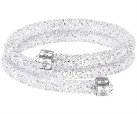 -,5255900 CRYSTALDUST DOUBLE BANGLE IN WHITE, SMALL