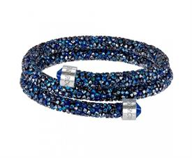 -,5237752 CRYSTALDUST DOUBLE BANGLE IN BLUE, MEDIUM.