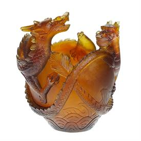 ",-DRAGON VASE IN AMBER. LIMITED EDITION NUMBERED 136 OF 888 PRODUCED. 12"" TALL."