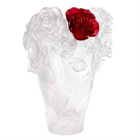 """-,ROSE PASSION VASE IN CLEAR WITH RED FLOWER. 13.8"""" TALL. LIMITED EDITION, NUMBER 248 OF 500"""