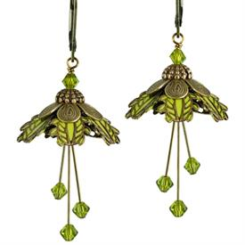 -PALM BEACH EARRINGS IN GOLD & LIME GREEN.