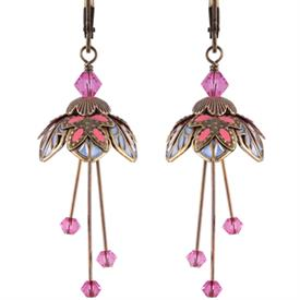 -TITANIA PAINTED EARRINGS IN GOLD, BABY BLUE & PINK.