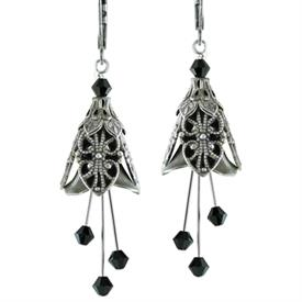 -RENAISSANCE EARRINGS IN SILVER & BLACK.