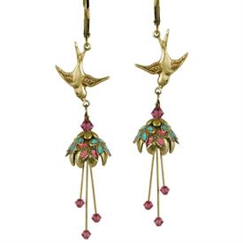 -SPRING BLOSSOMS PAINTED EARRINGS IN GOLD, MAGENTA & TURQUOISE.